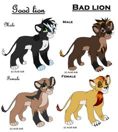 Lion adoptable from Rebecka won:make good lion and bad female lion