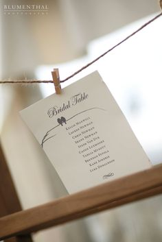 Birds of a feather. Table seating chart design with twine and miniature pegs.