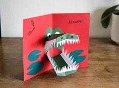 Carte pop up crocodile Pop Out Cards, 3d Cards, Fancy Fold Cards, Folded Cards, Cuento Pop Up, Diy For Kids, Crafts For Kids, Kids Pop, Pop Up Art