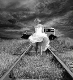 girl, railway, vintage - inspiring picture