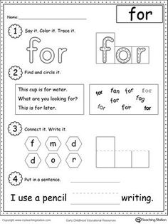 Learning Sight Word FOR: Practice recognizing the sight word FOR with My Teaching Station Learning Sight Words printable worksheet. Your child will practice recognizing the letters that make up the word, tracing, writing and finally putting the word in a sentence.