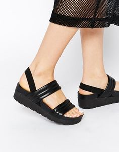 Enlarge ASOS FARLEE Padded Two Strap Leather Sandals