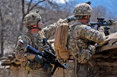 Connell, Battalion (Airborne), Infantry Regiment, Task Force Gold Geronimo and Spc. Tyler Noyes scan an area during a patrol in the Jani Khel district April 12 during Operation Marble Lion. Photo by Army Staff Sgt.