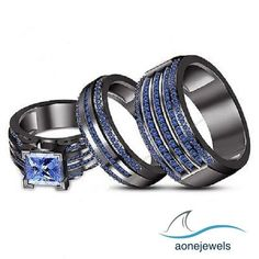 Blue Sapphire Trio Engagement Wedding Ring Band Set in Solid 14K Black Gold #aonejwels