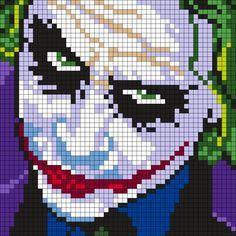 Heath Ledger As The Joker (Square) Perler Bead Pattern / Bead Sprite – bügelperlen / hama – Hama Beads Kandi Patterns, Pearler Bead Patterns, Perler Patterns, Beading Patterns, Crochet Patterns, Afghan Patterns, Loom Beading, Embroidery Patterns, Cross Stitching