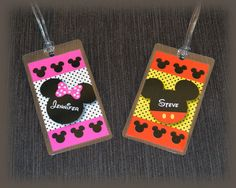 Mickey and Minnie Mouse Luggage Tags for Disney by plumeriaprints