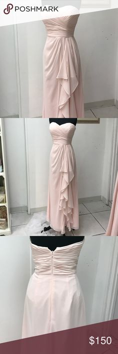 Pink Chiffon Gown Ruffle and draped side detail, straight skirt, back center zipper Dresses Strapless