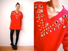 Vtg 80's Cut Out Holiday Bedazzled Sweater  http://www.etsy.com/shop/LuluTresors
