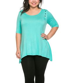 Look what I found on #zulily! Mint Stud-Accent Sidetail Top - Plus #zulilyfinds