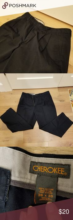 Mens Dress Pants by Cherokee Dark Navy Pants.  Pleated from the waist. Size 36x30.  Great for work in great condition! Cherokee Pants Dress