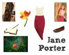 """""""Jane Porter"""" by we-are-walt-disney ❤ liked on Polyvore featuring BKE core, Frye, Disney, Universal Lighting and Decor, disney, jungle and Jane"""