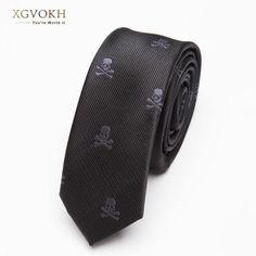 3d6fdd1ed7df Men TIE Black Skull Fashion Classical Slim Skinny Polyester Ties Narrow  Silkmodlilj Fashion Vintage, New