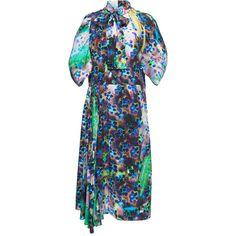 Printed Dress | Moda Operandi (€2.420) ❤ liked on Polyvore featuring dresses, prada, asymmetrical hem dresses, high neckline dress, short-sleeve dresses, short sleeve pleated dress and high-neck dresses