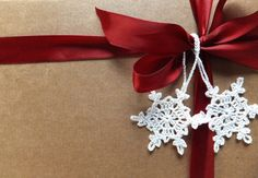 Handmade Christmas tree decorations, crocheted snowflakes, home decor, with hanging loop, white embellishments /set of 6/