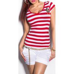 df15e1941fb2 Dámske pásikové tričko s hviezdou a gombíkmi na ramenách