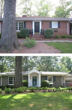 Painting Exterior Brick Before And After - Before After Painted Brick Ranch Style Home Brick Sherwin Curb Appeal 8 Stunning Before After Home Updates Home Should I Paint My Brick House Pros Con. Exterior House Colors, Exterior Paint, Exterior Design, Exterior Shutters, Diy Exterior, Black Shutters, Stained Brick Exterior, White Wash Brick Exterior, Cafe Exterior