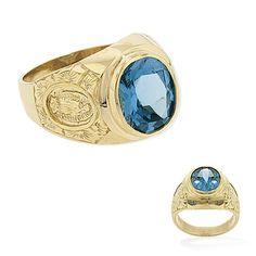 14K Gold Large Oval Blue CZ Mens Ring.