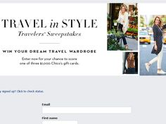 Enter the Chico's Travel In Style Sweepstakes for a chance to win 1 of 3 $1,000 Chico's Gift Cards!
