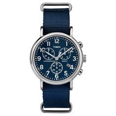 Timex Weekender Full Size Slip Thru Nylon Strap Chronograph Watch - Blue