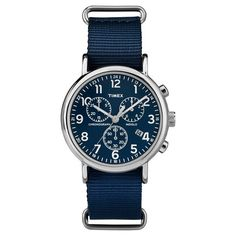 Timex Weekender Full Size Slip Thru Nylon Strap Chronograph Watch - Blue