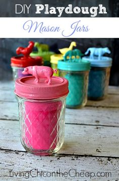 Homemade Christmas Gift: Playdough Mason Jars Learn how to make these Playdough Mason Jars over at Living Chic on the Cheap.Learn how to make these Playdough Mason Jars over at Living Chic on the Cheap. Homemade Christmas Gifts, Homemade Gifts, Diy Christmas Gifts For Kids, Handmade Christmas, Christmas Ideas, Mason Jar Crafts, Mason Jars, Diy With Kids, Kids Diy