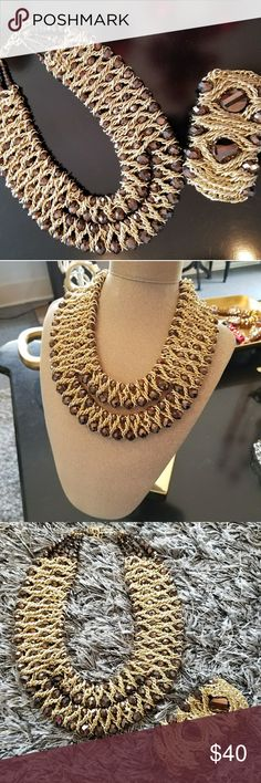 Fashion Necklace and bracelet Brand new necklace in color gold with brown stones and bracelet (new) Jewelry Necklaces