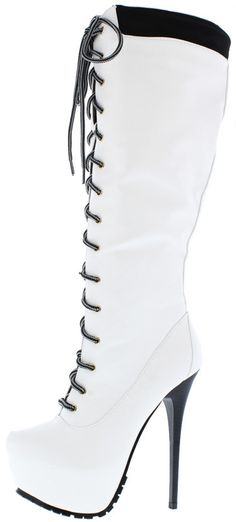 JLO02 WHITE LACE UP UTILITY PLATFORM BOOT ONLY $25.88