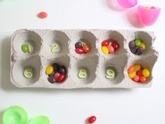Jelly bean and egg box mancala. I wonder if everyone has ever made it through a game with all the beans intact :-)