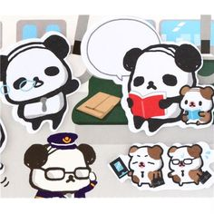 funny Ojipan panda index stickers memo bookmark sticker set book from Japan 3