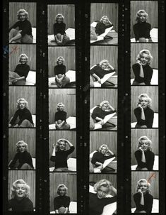 life: Black and white contact sheet from Alfred Eisenstaedt's 1953 photo shoot with Marilyn Monroe. Marilyn Monroe Movies, Marilyn Monroe Photos, Marylin Monroe, Classic Hollywood, Old Hollywood, Contact Sheet, Life Pictures, Famous Pictures, Norma Jeane