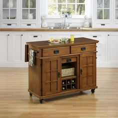 Mission styling at its best! The Arts and Crafts Kitchen Cart by Home Styles embellishes typical mission styling with framed doors showcasing raised wood and lattice moldings.