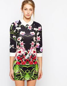 Image 1 ofTed Baker Dress in Mirrored Tropical Print