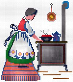0 point de croix servante en tablier cuisinant - cross stitch handmaid with apron cooking Cross Stitch Calculator, Cross Stitch Charts, Cross Stitch Designs, Cross Stitch Patterns, Embroidery Sampler, Ribbon Embroidery, Cross Stitch Embroidery, Embroidery Designs, Cross Stitch Silhouette