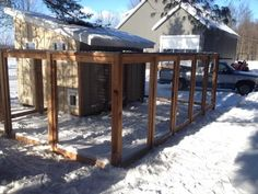 Custom chicken coop with 1x2 wire and black vinyl coated chain link roof