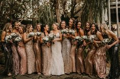 sequin new years eve bridal wedding party New Years Wedding, New Years Eve Weddings, Dream Wedding, Sydney Wedding, Sheer Wedding Dress, Wedding Bridesmaid Dresses, Wedding Party Dresses, Bridesmaid Ideas, Silvester Make Up