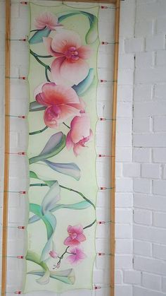 Silk Scarf Orchids Green Red Pink scarf Hand painted Floral