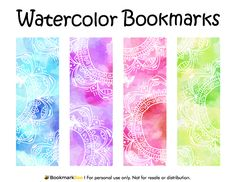 Free printable watercolor bookmarks. Download the PDF template at http://bookmarkbee.com/bookmark/watercolor/