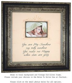 Personalized Baby Frame You are my sunshine by PhotoFrameOriginals