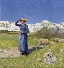 Segantini, Mezzogiorno sulle Alpi, 1891. The subject, as the title says, is the noon hour, captured through the cloudless sky, the blinding brightness, the woman staring at the horizon of a place outside of the composition and the green lawn. Nature is parsimonious high mountain, which even in summer becomes luxuriant.