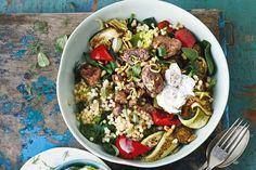 Lamb souvlaki bowl with olive tzatziki main image