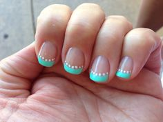 Mint green french manicure with white polka dots!!