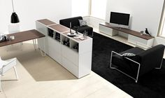 Black and white: Contemporary & Clean Design: 15 Best Offices on the Planet! Clean Design, Office Interiors, Storage Spaces, Home Office, Shelving, Contemporary, Interior Design, House, Furniture