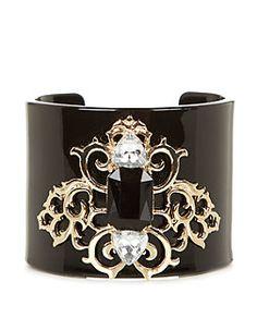 Black Filigree Baroque Cuff Bracelet | New Look