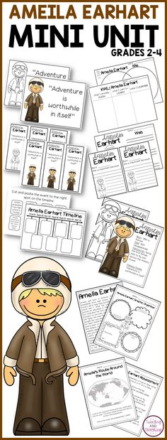 This set includes fun and engaging activities to teach your kids about Amelia Earhart!