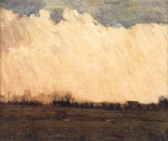 William L. Lathrop (1859-1938), Burning Fields, Bucks County, 1898, oil on board, H. 25 x W. 30 inches. Private Collection.