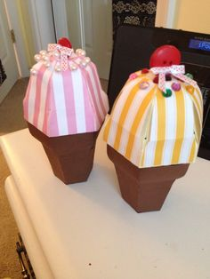 Ice cream cone boxes made out of scrapbook paper