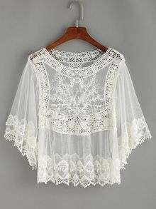 a3c3efb19fd Crochet Inset Mesh Cover-Up www.romwe.com | Lacy tops in 2019 | Lace ...
