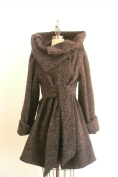 Maria Severyna Gray Knitted Wool Lined Coat - Medium - READY TO SHIP