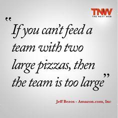 Jeff Bezos... Si dos pizzas grandes no bastan para que coma tu equipo, entonces tu equipo es muy grande. ¿Cuántas pizzas para el 'WaPo'? / Amazon's Bezos pays hefty price for Washington Post http://reut.rs/1cuMuw4