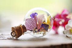 Echte Wildblume Halskette, Sterling Silber, Waldland Märchen, Glas Flasche Anhänger, Natur-Schmuck, botanische Schmuck, nachdenklich Geschenk